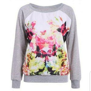 Sweaters - Gray Floral Sweatshirt